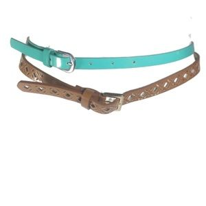 Bundle of Turquoise and Brown Cut-out Skinny Belts